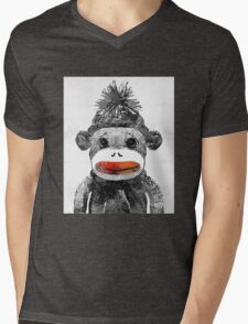 Sock Monkey Art In Black White And Red - By Sharon Cummings Mens V-Neck T-Shirt