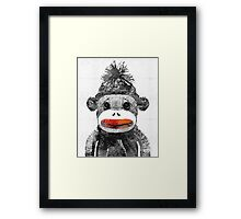 Sock Monkey Art In Black White And Red - By Sharon Cummings Framed Print
