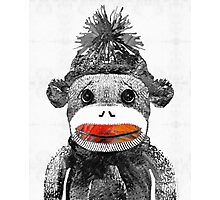 Sock Monkey Art In Black White And Red - By Sharon Cummings Photographic Print