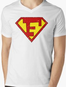 Superman F Letter Mens V-Neck T-Shirt