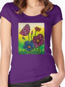 Summer Garden - Colorful Abstract Floral Art Print Flowers Women's Fitted Scoop T-Shirt