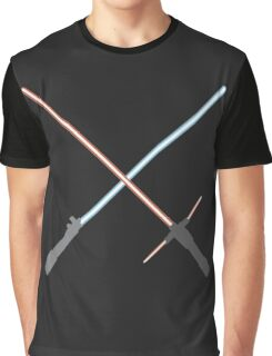 Kylo Ren and Rey Lightsabers Graphic T-Shirt