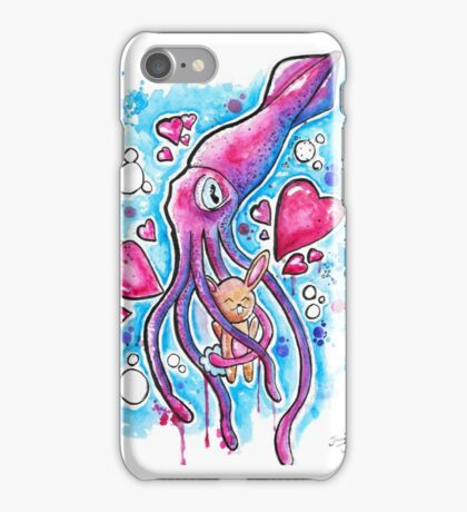 CUTE SQUID BUNNY LOVE - Watercolor T shirts + More! iPhone Case/Skin