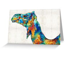 Colorful Camel Art by Sharon Cummings Greeting Card