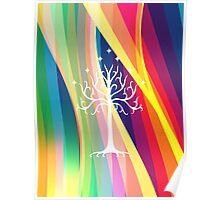 Rainbow Gondor Tree LOTR Poster