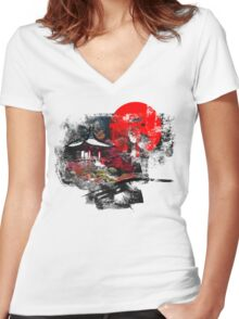 Kyoto Abstract Women's Fitted V-Neck T-Shirt
