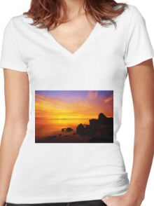 Sunset and Fire Women's Fitted V-Neck T-Shirt