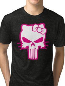Punisher Kitty Pink Tri-blend T-Shirt