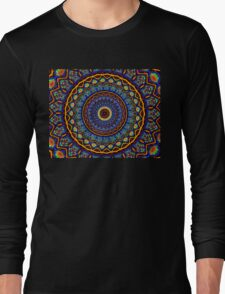Kaleidoscope 4 abstract stained glass mandala pattern Long Sleeve T-Shirt