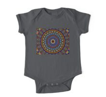 Kaleidoscope 4 abstract stained glass mandala pattern One Piece - Short Sleeve