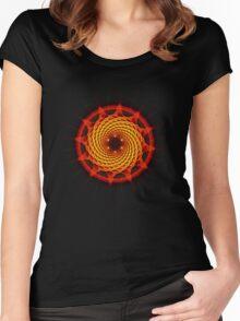 Merkaba Spiral Mandala Red   ( Fractal Geometry ) Women's Fitted Scoop T-Shirt