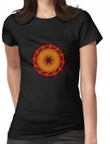 Merkaba Spiral Mandala Red   ( Fractal Geometry ) Womens Fitted T-Shirt