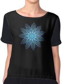 Fractal Flower - Blue Chiffon Top