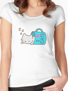 Kawaii I Love Cats Women's Fitted Scoop T-Shirt