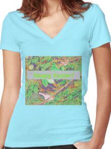 Bird scene at Easter Women's Fitted V-Neck T-Shirt