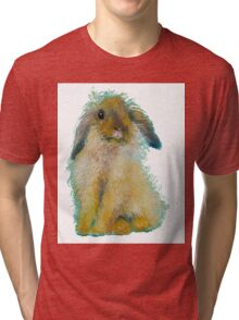 Bunny Rabbit painting on white background Tri-blend T-Shirt