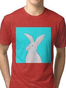 White Easter bunny rabbit on blue Tri-blend T-Shirt