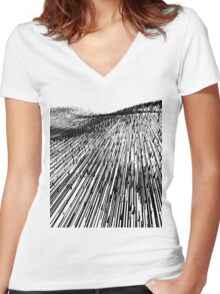 Abstract Field (black) Women's Fitted V-Neck T-Shirt