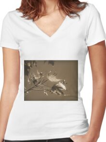 Autumn Leaves ~ In Sepia Women's Fitted V-Neck T-Shirt