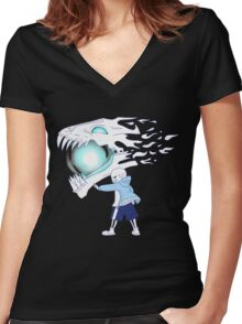 Undertale - Sans and Gasterblaster Women's Fitted V-Neck T-Shirt