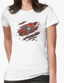 Spiderman Chest Ripped Womens Fitted T-Shirt