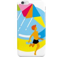 The boy starts a kite in the sky. Summer iPhone Case/Skin