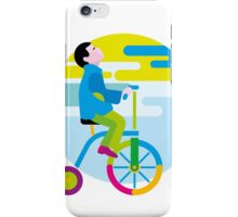 Boy on a winged bicycle. Autumn iPhone Case/Skin