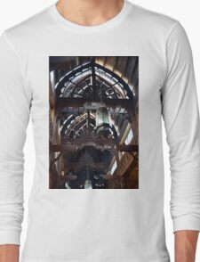Wooden interior with arch ceiling and lamps. Long Sleeve T-Shirt