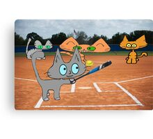Cats Play Playing Softball! Canvas Print