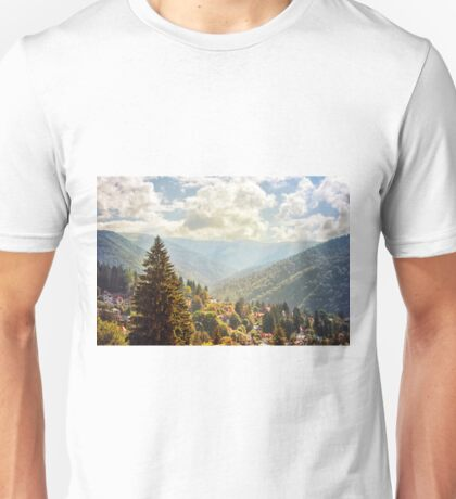 Fantasy scenery with mountains and cloudy sky. Unisex T-Shirt