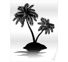 Palm Tree on Island Silhouette 2 Poster