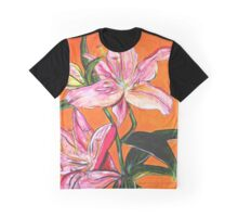 Flower, Pink, colerful, green, pink, orange, plant Graphic T-Shirt