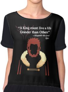 Iskandar Quotes Black Print Chiffon Top