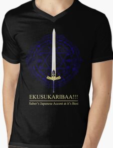 EKUSUKARIBAA ~ Saber's Japanese Accent Mens V-Neck T-Shirt