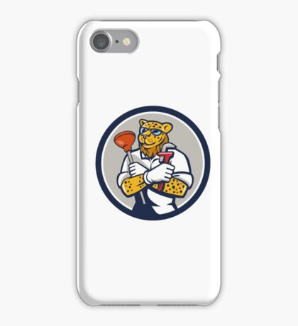 Leopard Plumber Wrench Plunger Circle Retro iPhone Case/Skin