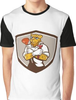 Leopard Plumber Wrench Plunger Crest Retro Graphic T-Shirt