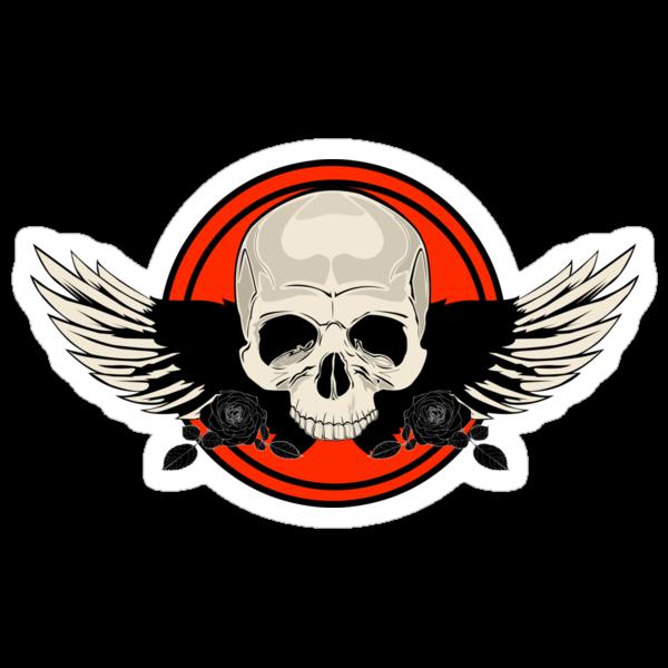 Wing Skull - ORANGE by Adamzworld