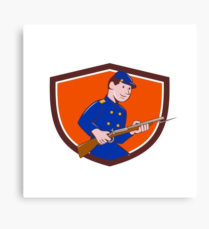Union Army Soldier Bayonet Rifle Crest Cartoon Canvas Print