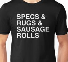 Specs and Rugs and Sausage Rolls Unisex T-Shirt