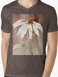 Sepia Daisy Mens V-Neck T-Shirt