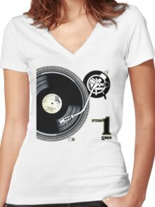 12Inch Vynil Women's Fitted V-Neck T-Shirt