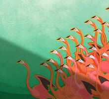 Fresco of the flamingoes by Iker Paz Studio