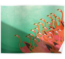 Fresco of the flamingoes Poster