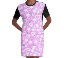 Pink Fluffy Hearts Graphic T-Shirt Dress