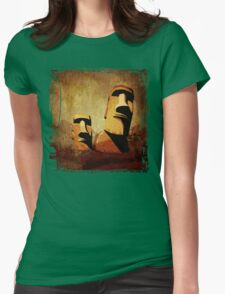 Easter Island Moai Heads Womens Fitted T-Shirt
