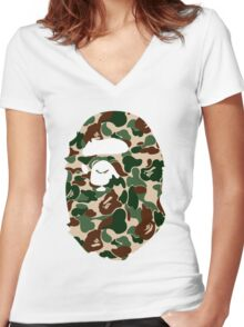 bape logo army Women's Fitted V-Neck T-Shirt