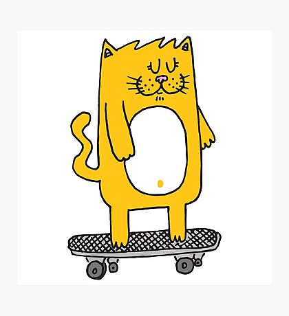 Cat riding the skateboard Photographic Print