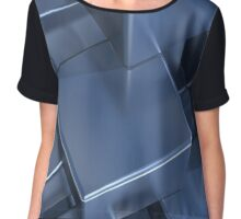 Stacked blue reflexive cubes Chiffon Top