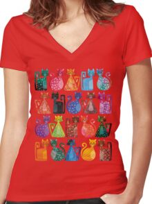 Geometricats - Bright Colours Women's Fitted V-Neck T-Shirt