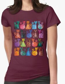 Geometricats - Bright Colours Womens Fitted T-Shirt